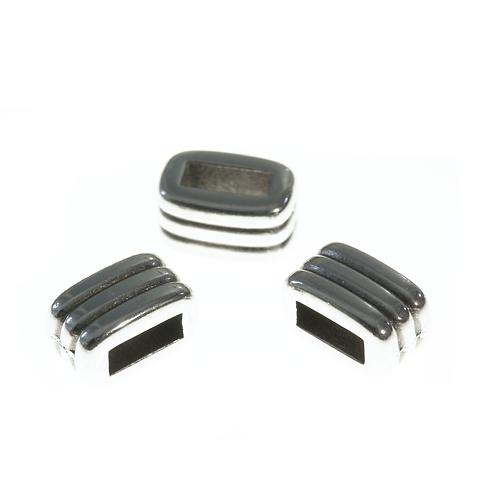 Schlaufteil Rechteck gerillt  4.5x8x5mm silber, Loch 5.2x2.2mm