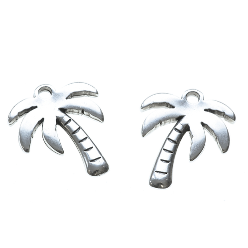 Anhänger Palme mit Oese, 17x20mm, silber