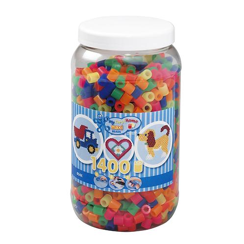 Dose mit Maxi Perlen 10mm, 1400 Perlen Mix 51 (6 Neonfarben)
