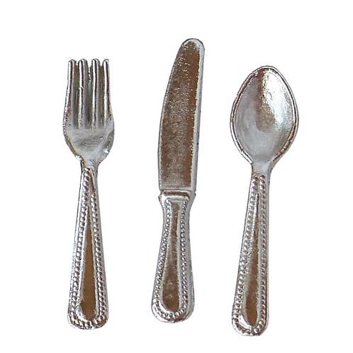 Besteck 2cm silber 12St (3x4 Stück Gabel, Messer, Löffel)