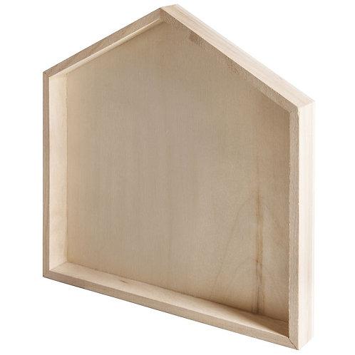 Holz Rahmen Haus, FSC Mix Credit 22x24x2,5cm, mit 6 Haken + Anhänger