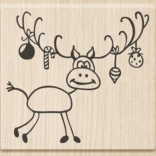 """Holz Stempel Weihnachten """"Rudolf"""" Motivgrösse 6.5x6cm"""