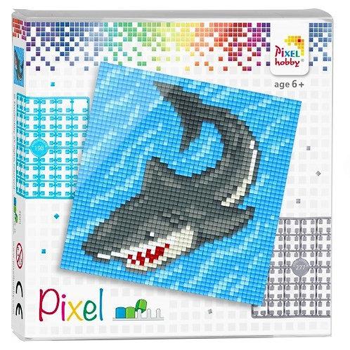 Pixel Set Quadrat Hai - Bild aus 4 quadratischen Grundplatten