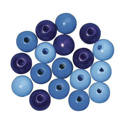 Holz Perlen Mischung FSC 100%, poliert,  blau Töne, lutsch- und speichelfest