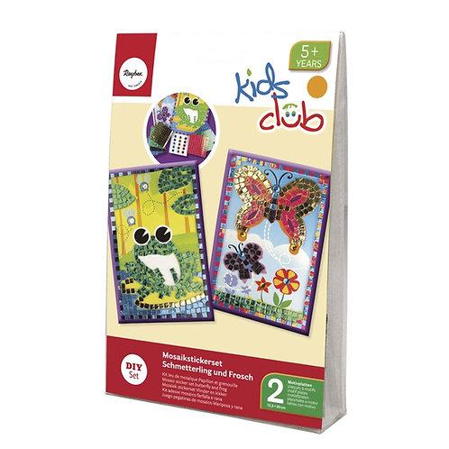 Mosaikstickerset - Schmetterling+Frosch 12,5x20 cm, 10 tlg., 2 Motivplatten