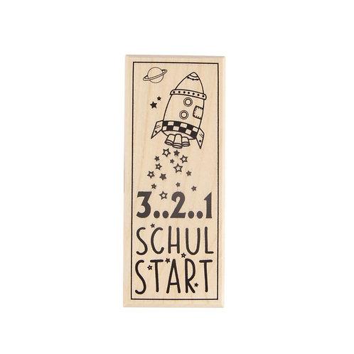 Holz Stempel 3..2..1 Schulstart, 4x10cm