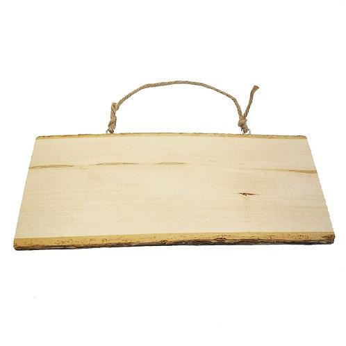 Holzscheibe Schild mit Hänger, rechteckig, ~ 25 x 9 cm, roh
