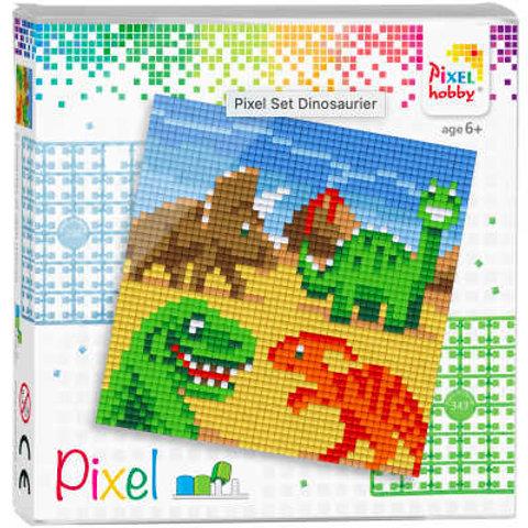Pixel Set Quadrat Dino - Bild aus 4 quadratischen Grundplatten