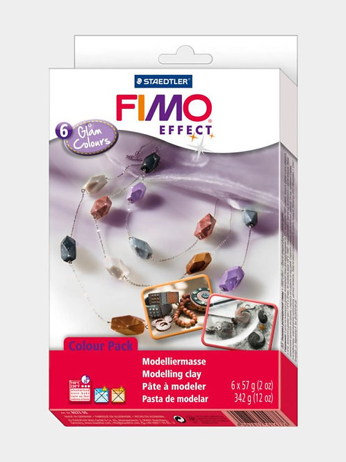 FIMO effect Materialpackung, Glam Colours, 6 Blöcke à 57 g
