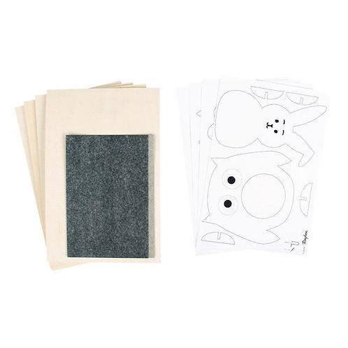 Sperrholzplatten mit Vorlagen-Tiere 300x200x4mm, 4 Platten, Beutel 1Set, natur
