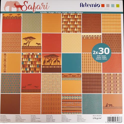 Artemio Papier Block Safari 30.5x30.5cm 30 Motive à 2 Blatt