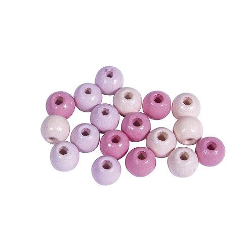 Holz Perlen Mischung, FSC 100%, rosé, poliert