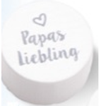 Schnulli Scheibe Papas Liebling 20x10mm weiss