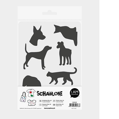 Schablone Kids DIN A5, Hunde + Katzen