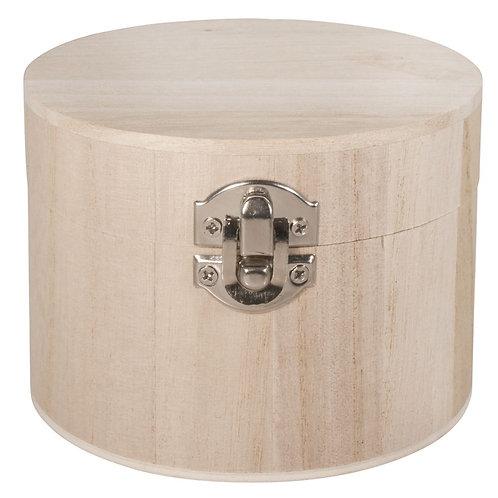 Holz Box, FSC 100%, 9,5cm ø 7cm, mit Metallverschluss
