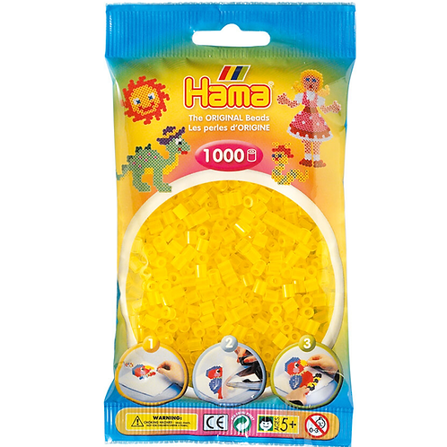 Midi Perlen 5mm in Beutel, 1000 Perlen transparent-gelb