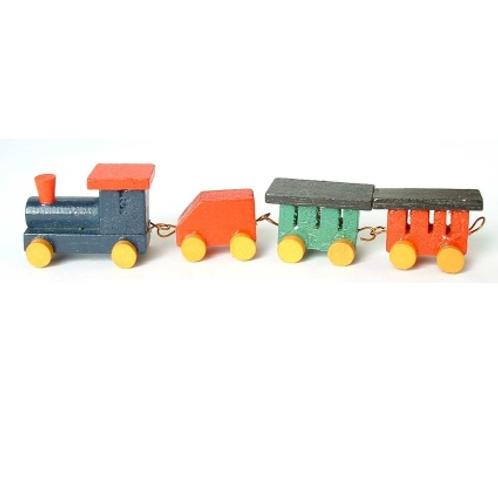 Eisenbahn m. 3 Wagen Holz farbig