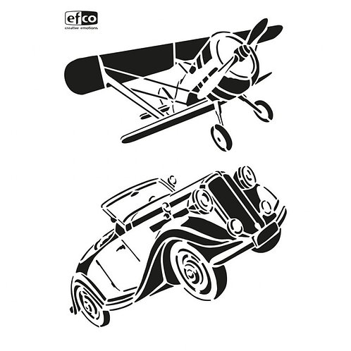 Stencil Schablone A4 Flugzeug und Oldtimer 2-teilig
