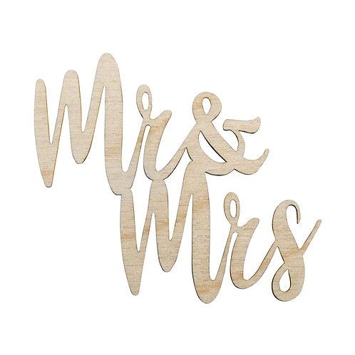 Holz-Minischrift Mr&Mrs, 7x6,2x0,3cm, SB-Btl 4Stück, natur