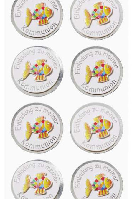 Sticker Einladung Kommunion Fisch silber