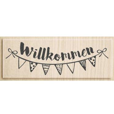 """Holz Stempel Allgemein """"Willkommen"""""""