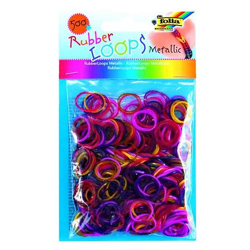 Rubber Loops 500St. METALLIC inkl 25 S-Klipse /Häkelnadel