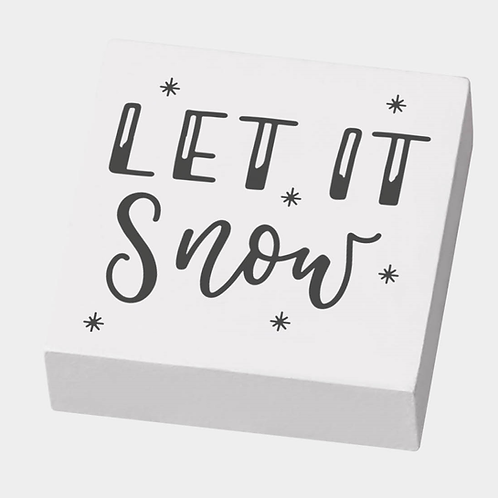 Holz Stempel M&B Let it snow, 4.5 x 4.5 x 2 cm