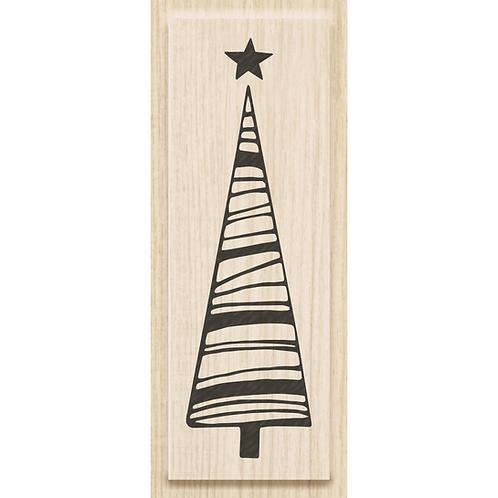 """Holz Stempel Weihnachten """"Baum mit Stern"""" Motivgrösse 2.1x7cm"""