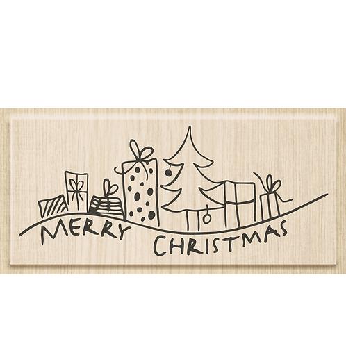 """Holz Stempel Weihnachten """"Geschenke!"""" Motivgrösse 9.5x4cm"""
