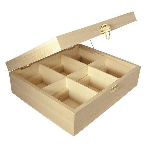 Holz Teebox, FSC Mix Credit, 6 Fächer 21,5x18x7cm