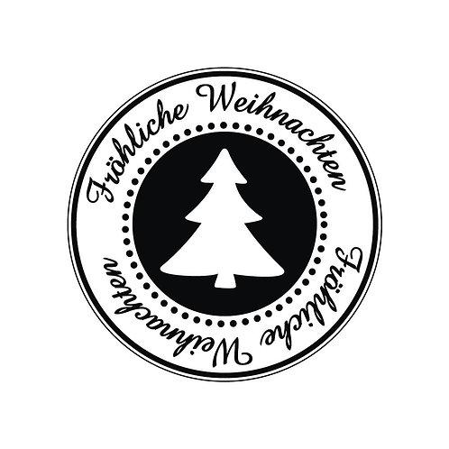 Holz Stempel Fröhliche Weihnachten, 3cm ø