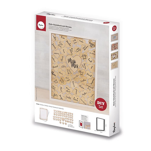 Holz Gästebuch mit Herzen, FSCMix Credit 35x26x4cm, zum Stellen, Box 1Set, natur