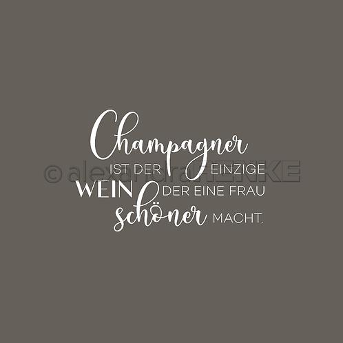 """Holz Stempel """"Champagner ist der einzige Wein"""" 46x29.5mm"""