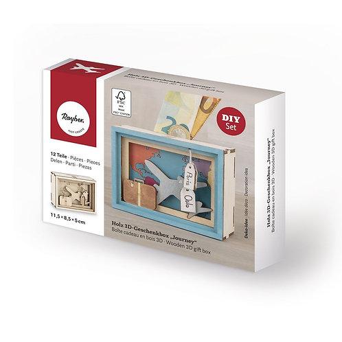 Holz 3D GeschenkboxJourney,FSCMixCred., 11,5x8,5x5cm, 12 tlg. Bausatz, Box 1Set,
