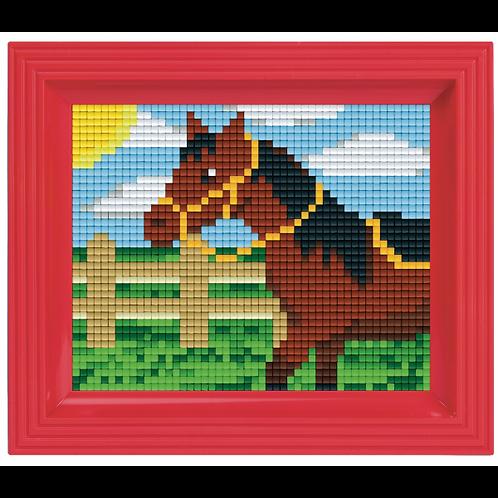 Pixelbild Set Pferd - mit Rahmen