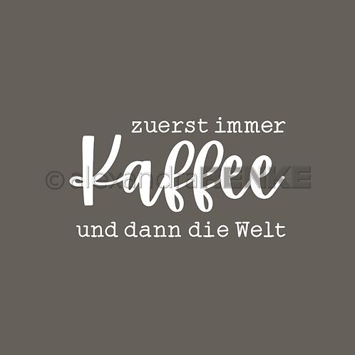 """Holz Stempel """"Zuerst immer Kaffee"""" 34.5x19mm"""