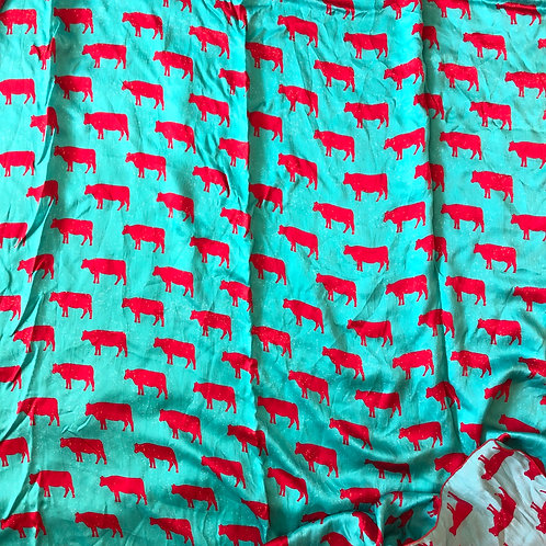 Red Cows on Turquoise Scarves
