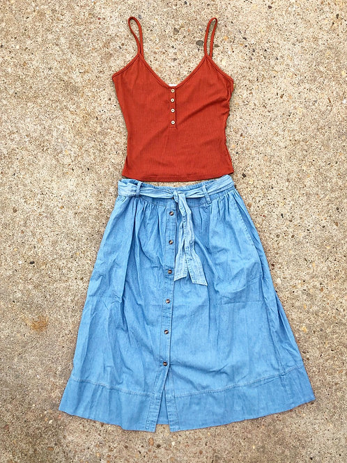 Denim Skirt M/L , Ribbed Tank L