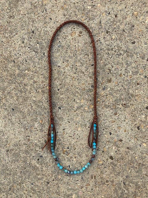 Blue Haze Fire Agate Fring Necklace