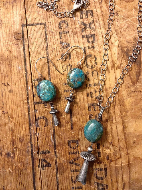 Turquoise and Squash Blossom Set.