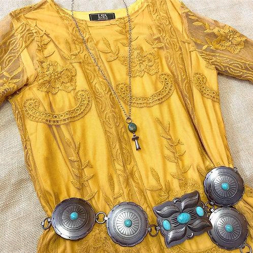 Mustard Lace Hi-Low Dress