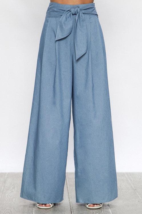 Chambray Culotte Pants L