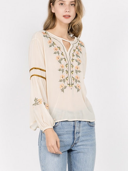 Embroidered Sheer Top M