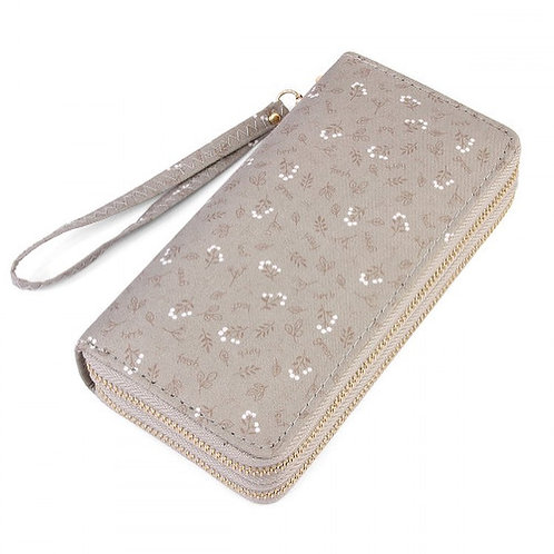 Grey Floral Double Wallet
