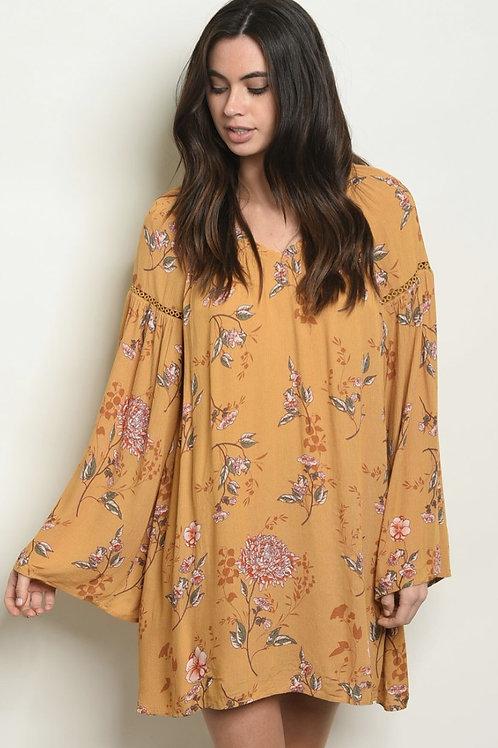 Mustard Floral Dress/Tunic
