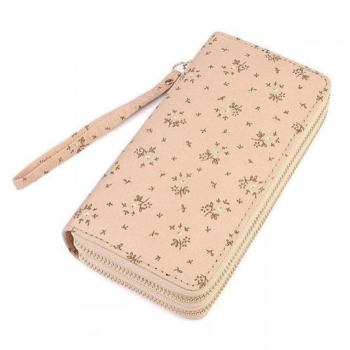 Tan Floral Double Wallet