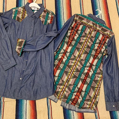 Denim and Aztec Snap Front Shirt L