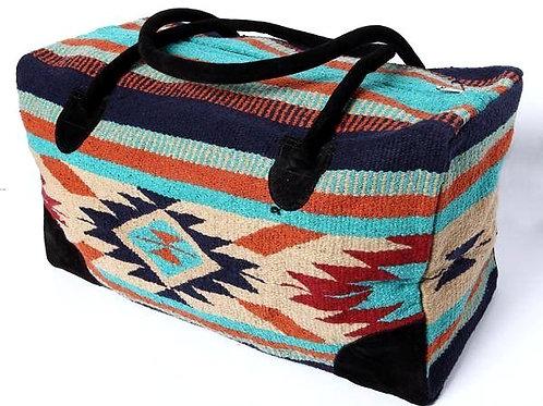 Large Travel Bag, tan, orange & turquoise