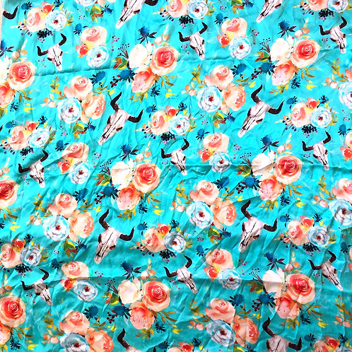 Peach Floral Skull on Turquoise Scarves