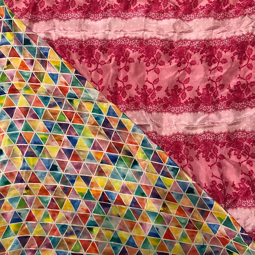 "28"" Colorful Triangles & Pink Lace Scarves"